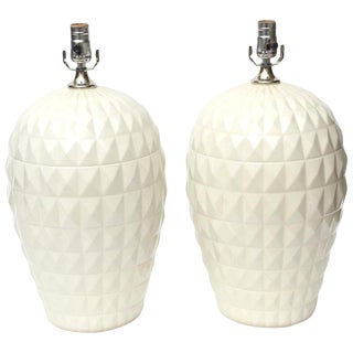 1960s White Ceramic Geometric Lamps - a Pair For Sale
