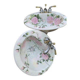 1970s Painted Roses Porcelain Sinks & Vintage Faucets - a Pair For Sale