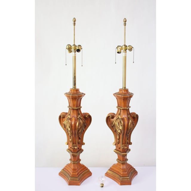 Pair of painted and gilded hardwood table lamps by renowned lighting manufacturer, Marbro, of Los Angeles, CA (circa early...