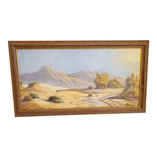 Vintage Original Acrylic on Board of Desert Signed For Sale