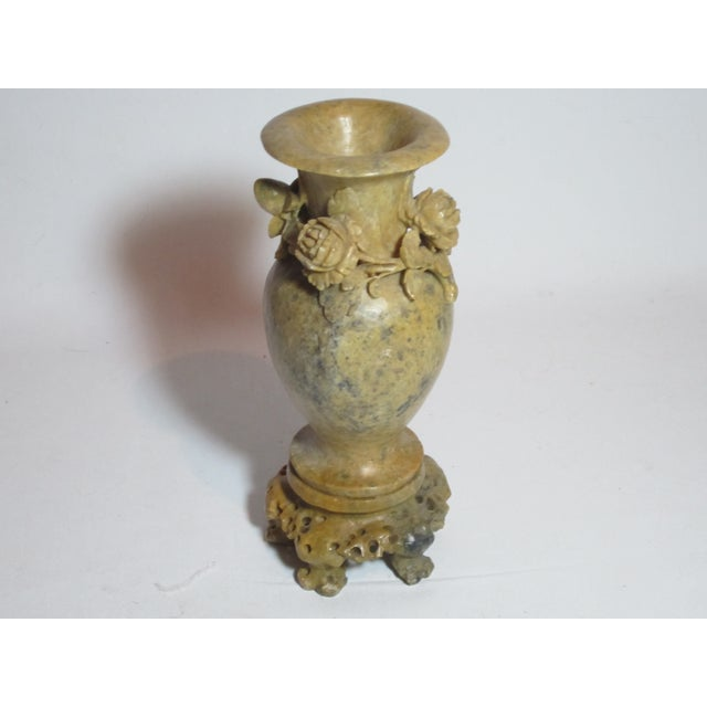 Chinese Soapstone Vase With Relief Chairish