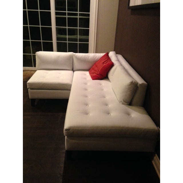 Modern White Faux Leather L-Shaped Sofa - Image 5 of 6
