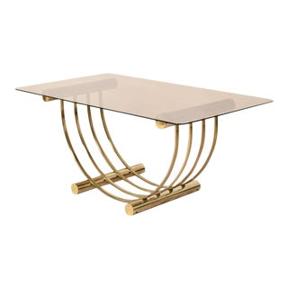 1970s Vintage Italian Brass Smoked Glass Dining Table For Sale