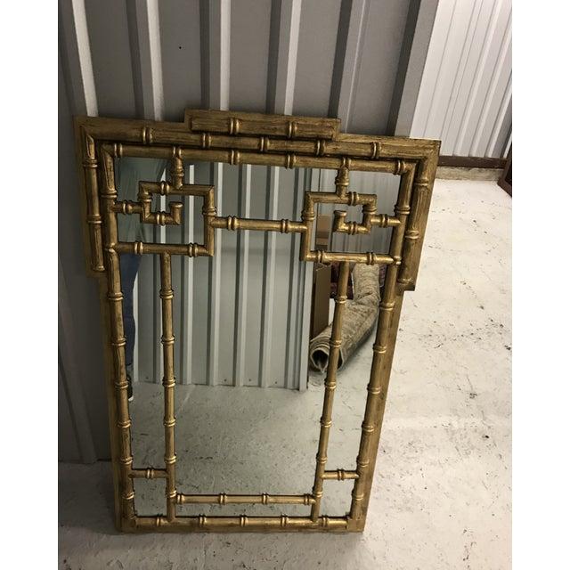 Labarge 1960s Vintage LaBarge Faux Bamboo Greek Key Mirror For Sale - Image 4 of 5