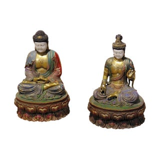 Early 20th Century Antique Asian Figural Seated Marble Statues - A Pair For Sale