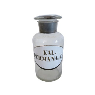 Antique Kal. Permangan. Clear Glass Apothecary Bottle For Sale