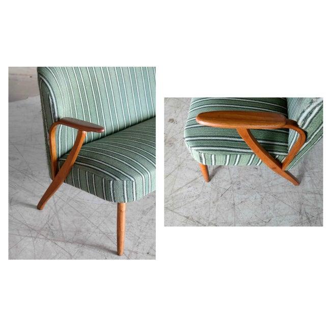 1950s Danish Midcentury Sofa with Teak Armrests in the Style of Kurt Olsen for Bramin For Sale - Image 5 of 9