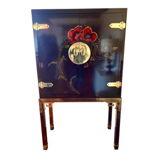 Mid-Century Signed Mastercraft Brass & Lacquered Liquor Drinks Cabinet Bar For Sale