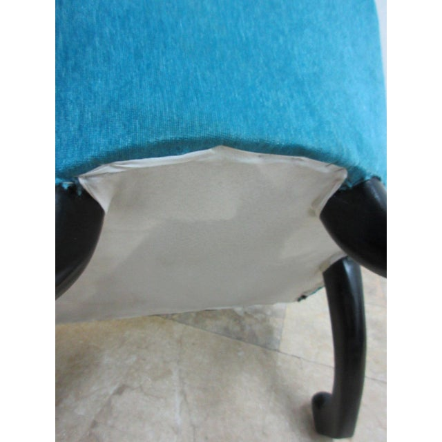 Blue Hollywood Regency Style Modern Scoop Back Fireside Lounge Club Chair For Sale - Image 8 of 10