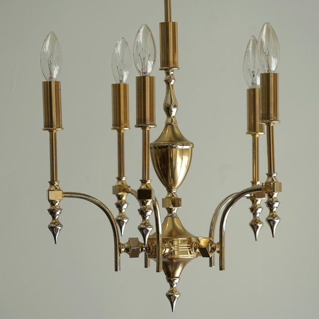 Mid-Century Modern German Gold Plated Chandelier For Sale - Image 3 of 5