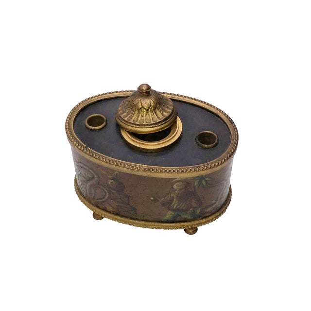 Mid 19th Century Antique French Chinoiserie Ink Well For Sale - Image 5 of 10