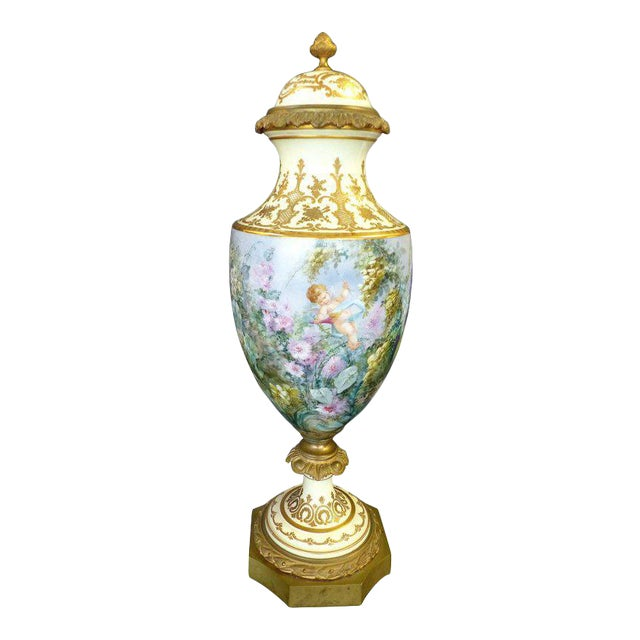 19th Century Hand-Painted Sevres Covered Urn Mounted in Gilt Bronze, Signed For Sale