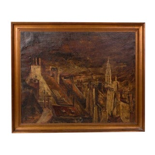 Early 19th Century Belgian Town in Gilt Framed Oil Painting For Sale