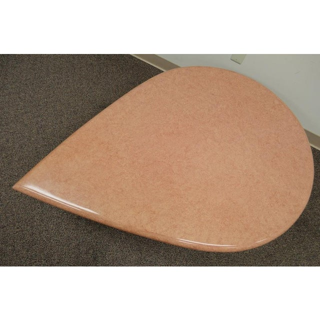 Vintage Mid-Century Modern Hollywood Regency Pink Tear Rain Drop Coffee Table - Image 10 of 11