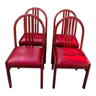 1980s Vintage Lowenstein Lacquered Wood Dining Chairs - Set of 4 For Sale