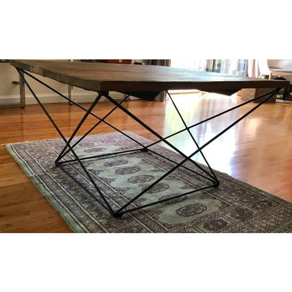 West Elm Angled Base Coffee Table For Sale - Image 4 of 4