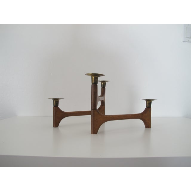 Mid-Century Wood and Brass Candelabra - Image 4 of 8