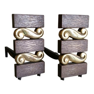 Art Deco Donald Deskey Andirons Iron and Brass - a Pair For Sale