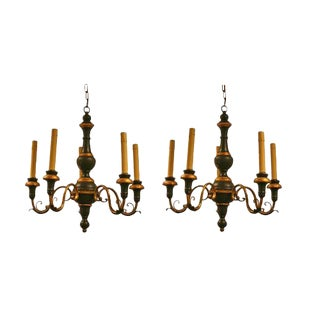 Vintage 5 Arm Painted Carved Wood Chandeliers - A Pair