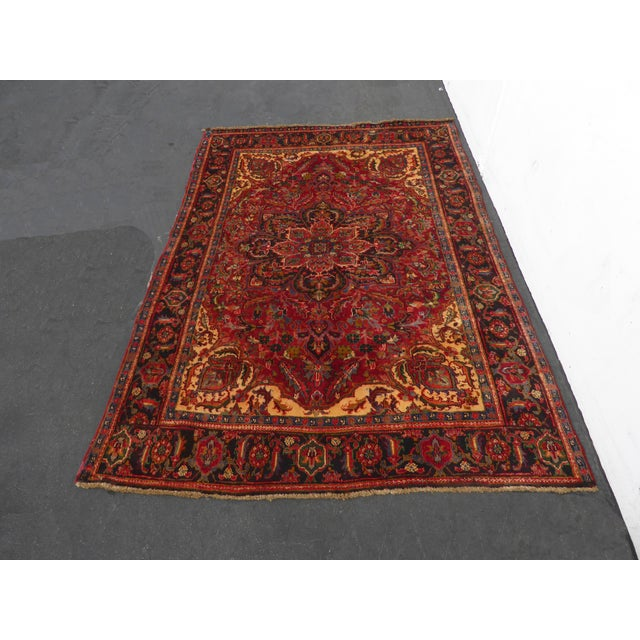 Vintage Rectangle Red Floral Design Persian Area Rug. Gorgeous Rug in Great Vintage Condition. Wear is usual for its age....