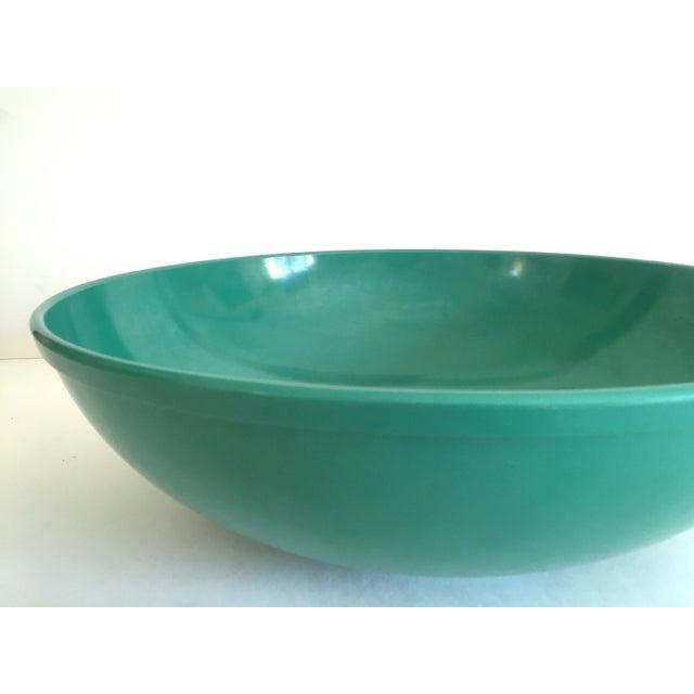 Plastic Vintage Mid Century Modern Melmac Melamine Extra Large Teal Green Round Serving Bowl For Sale - Image 7 of 13