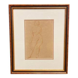 """""""Standing Nude"""" Hand Wash Drawing by Raphael Soyer For Sale"""