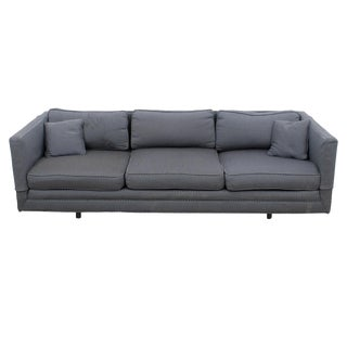 Knoll-Style Blue & White Upholstery Sofa For Sale