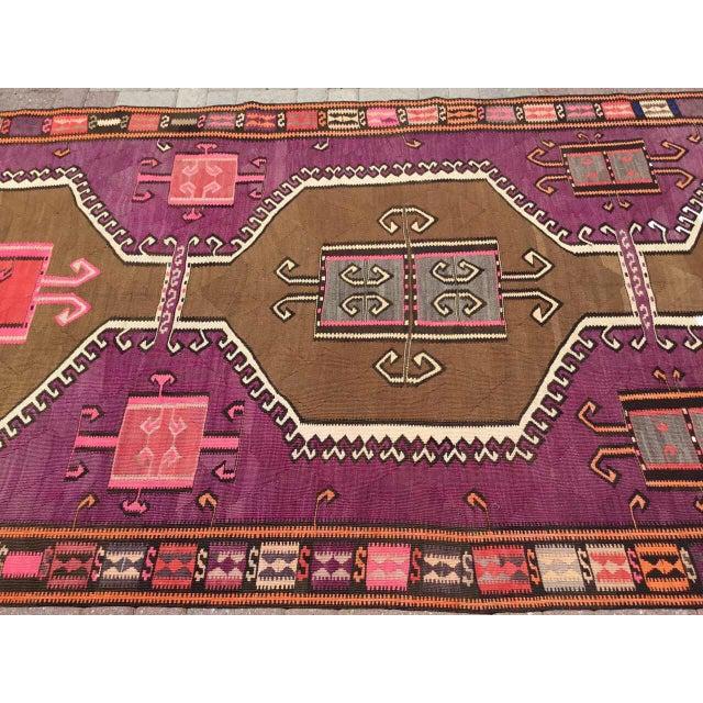 Boho Chic Vintage Purple Kilim Rug For Sale - Image 3 of 9