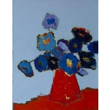 """Image of Bill Tansey """" Blue Bouquet"""" Abstract Floral Oil on Canvas For Sale"""