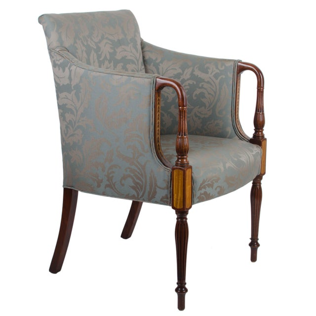 Mahogany Southwood Sheraton Style Inlaid Mahogany Club Chairs - A Pair For Sale - Image 7 of 10