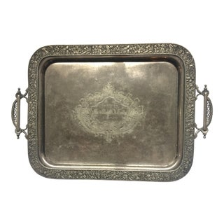 Late 19th Century Antique Victorian Wilcox Quadruple Silver Plate Serving Tray For Sale