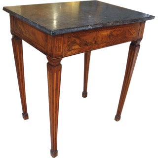 19th Century Italian Neoclassical Inlaid Marble Top Side Table For Sale