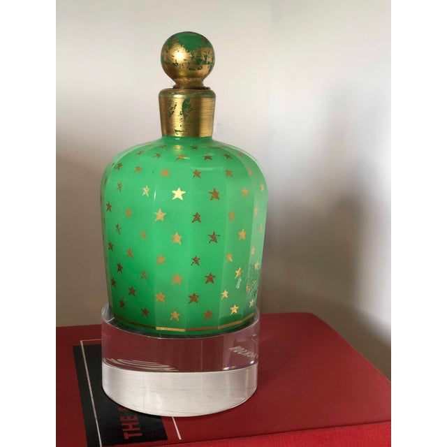 """Baccarat Opaline Perfume Bottle Green With Gold Stars Gilt and Green Top 5"""" High x 3"""" Diameter"""