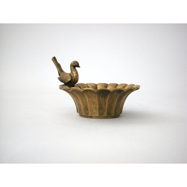 Vintage Brass Bowl with Bird - Image 2 of 8
