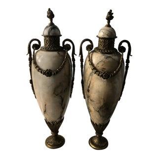 Louis XIV Variegated Ecru Marble Bronze Ormolu Garnitures - a Pair For Sale