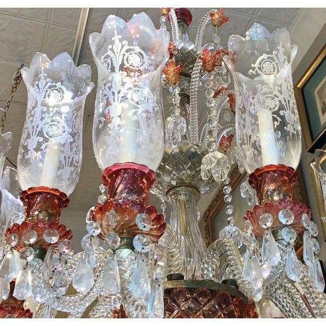 French Late 19th Century Antique Original Signed French Baccarat 12 Light Cranberry Red Crystal Chandelier For Sale - Image 3 of 9