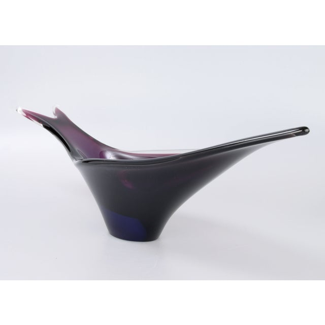 Blue Handblown Murano Glass Fish-Shape Bowl For Sale - Image 8 of 9