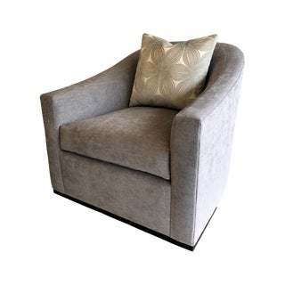 Gray Swivel Arm Chair For Sale