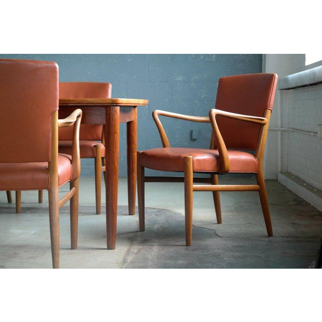 Mid-Century Modern Fritz Hansen Attributed Large Conference or Dining Table Set Eight Chairs For Sale - Image 3 of 12