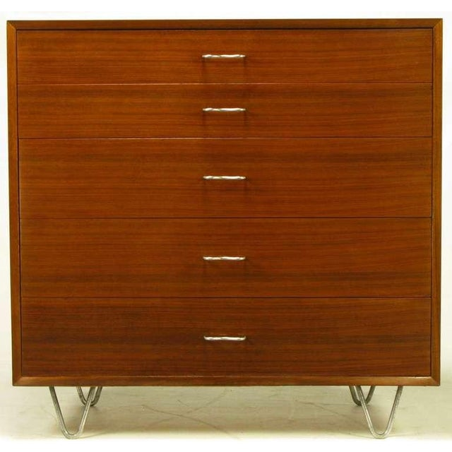 Herman Miller George Nelson Mahogany Five-Drawer Tall Chest For Sale - Image 4 of 10