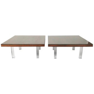 1967 Milo Baughman Rosewood and Lucite Coffee Tables - a Pair For Sale