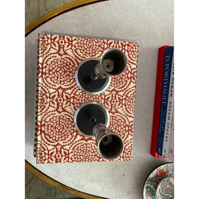 Mid-Century Metal and Stone Candlesticks - a Pair For Sale In San Francisco - Image 6 of 9