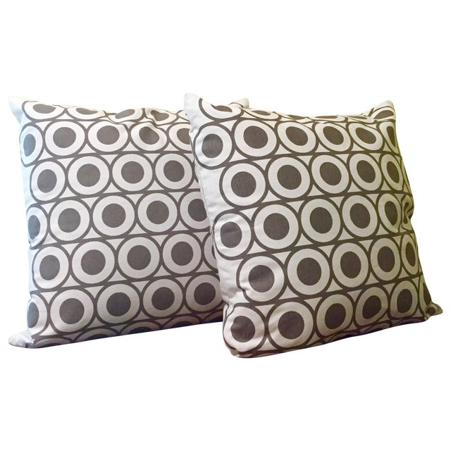 Gray & White Geometric Pillows - A Pair - Image 1 of 6