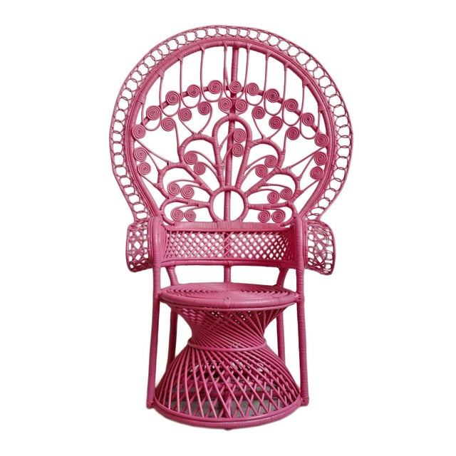 Pink Pink Peacock Wicker Chair For Sale - Image 8 of 8