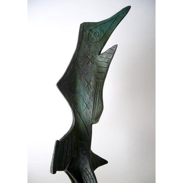 Joan Miró 1950s Surrealist Modern Patinated Bronze on Marble Base Sculpture For Sale - Image 4 of 5