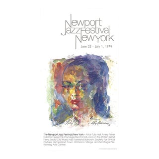 """Leroy Neiman Newport Jazz Festival New York (Lady) 37.5"""" X 20.5"""" Poster 1979 Expressionism Multicolor For Sale"""
