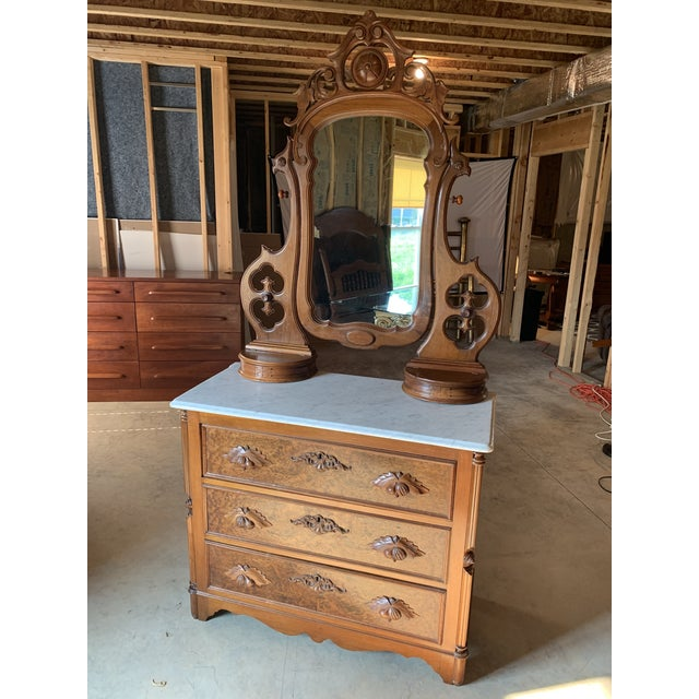 Late 1800's Victorian Carved Mahogany White Marble Top Dresser With Tilt Mirror For Sale - Image 4 of 13