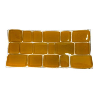 Mid-Century Modern Butterscotch Fused Art Glass Tray For Sale