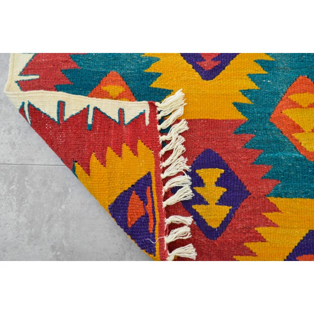 "Turkish Hand Woven Wool Nomad Runner Rug - 2'6"" X 9'1"" - Image 8 of 8"