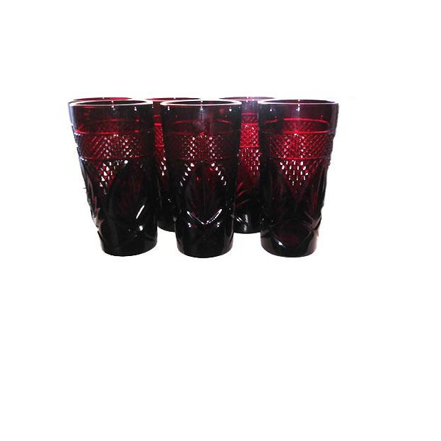 Glass Antique Ruby Glasses by Cristal d'Arques-Durand - Set of 6 For Sale - Image 7 of 7